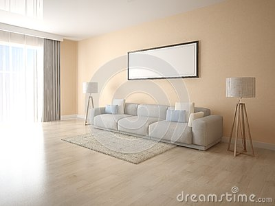 mock up a bright living room with a large sofa stock illustration. Black Bedroom Furniture Sets. Home Design Ideas