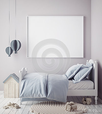 Mock up poster frame in baby boy room, scandinavian style interior background Cartoon Illustration