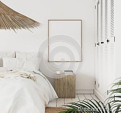 Mock-up poster frame in bedroom, Scandinavian style Stock Photo