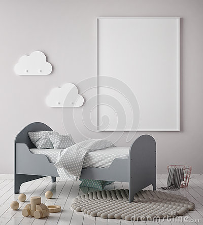 Mock up poster frame in children bedroom, scandinavian style interior background, 3D render, Cartoon Illustration