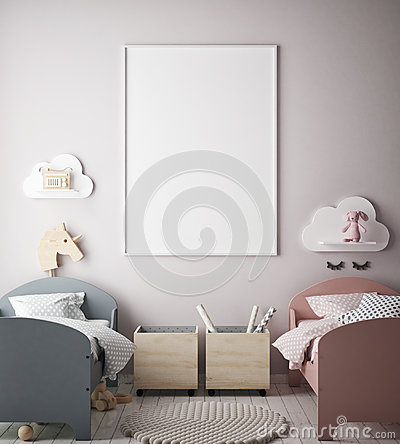 Mock up poster frame in children bedroom, scandinavian style interior background, 3D render Cartoon Illustration