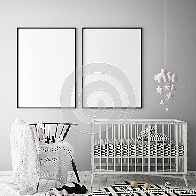 Mock up poster frame in children bedroom, scandinavian style interior background, 3D render Cartoon Illustration