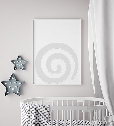 Mock up poster frame in children room, scandinavian style interior background, Cartoon Illustration
