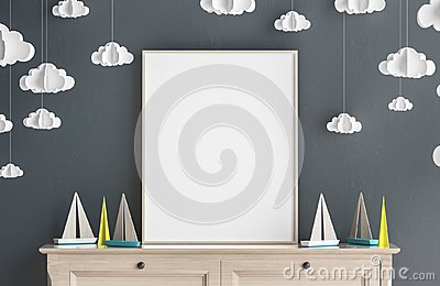 Mock up poster frame in children room, Scandinavian style interior background Stock Photo