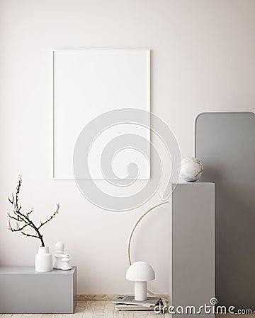 mock up poster frame in geometric interior background, pastel colors, 3D render, 3D illustration Cartoon Illustration