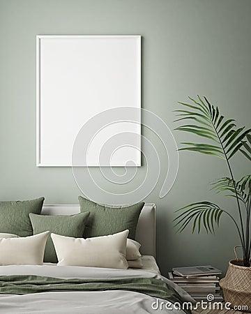 Mock up poster frame in hipster interior background, bedroom, Scandinavian style, 3D render, 3D illustration Cartoon Illustration