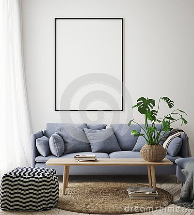 Mock up poster frame in hipster interior background, living room, Scandinavian style, 3D render, 3D illustration Cartoon Illustration