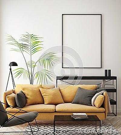Mock up poster frame in hipster interior background, living room, Scandinavian style, 3D render, 3D illustration Cartoon Illustration