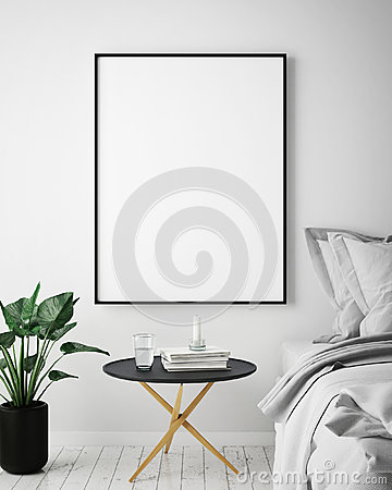 Mock up poster frame in hipster interior background, scandinavian style, 3D render, Cartoon Illustration
