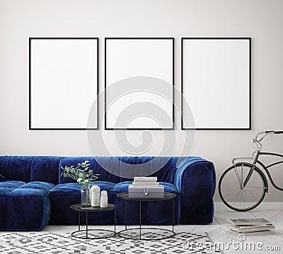 mock up poster frame in hipster interior background, Scandinavian style, 3D render Cartoon Illustration
