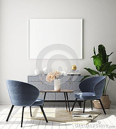 Mock up poster frame in hipster interior background, living room,Scandinavian style, 3D render, 3D illustration Cartoon Illustration