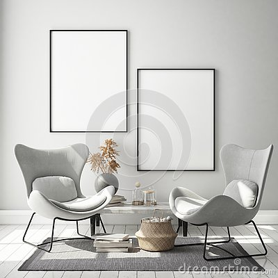 Mock up poster frame in hipster interior background, living room,Scandinavian style, 3D render, 3D illustration Cartoon Illustration