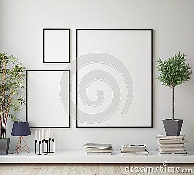 Mock up poster frame in hipster room, scandinavian style interior background, Cartoon Illustration