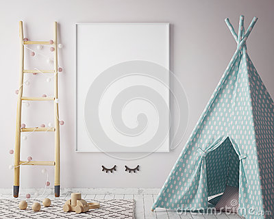 Mock up poster frame in hipster room, scandinavian style interior background, 3D render Cartoon Illustration