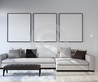Mock up poster frame in home interior background, Modern style living room Stock Photo