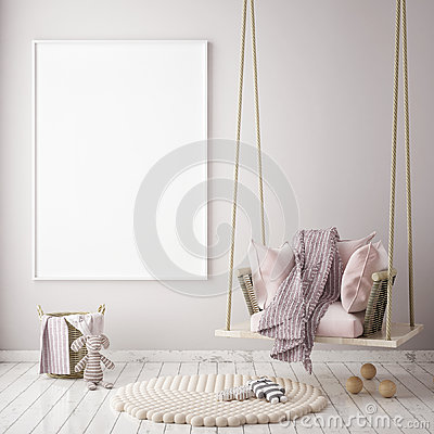 Free Mock Up Poster Frame In Children Bedroom, Scandinavian Style Interior Background, 3D Render Royalty Free Stock Photography - 86032647