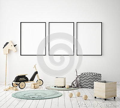 Free Mock Up Poster Frame In Children Bedroom, Scandinavian Style Interior Background, 3D Render Stock Photo - 92812410
