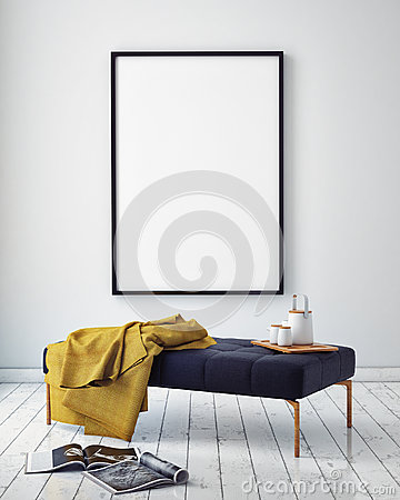 Free Mock Up Poster Frame In Hipster Interior Background, Stock Photo - 59966690