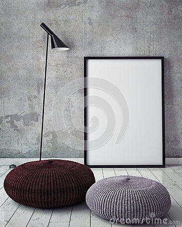 Free Mock Up Poster Frame In Hipster Interior Background, Royalty Free Stock Image - 59966696