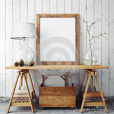 Free Mock Up Poster Frame In Hipster Interior Background, Stock Photos - 59966803