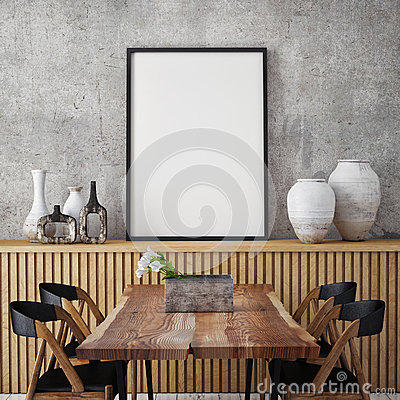 Free Mock Up Poster Frame In Hipster Interior Background, Stock Photography - 64547602