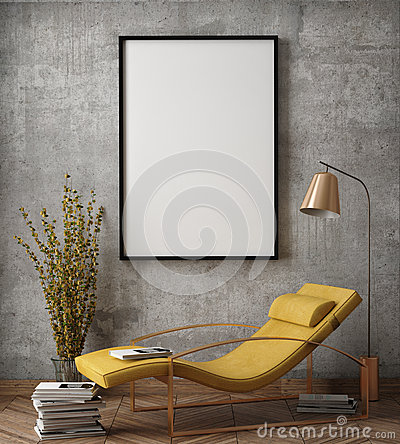 Free Mock Up Poster Frame In Hipster Interior Background, Stock Photo - 70308080