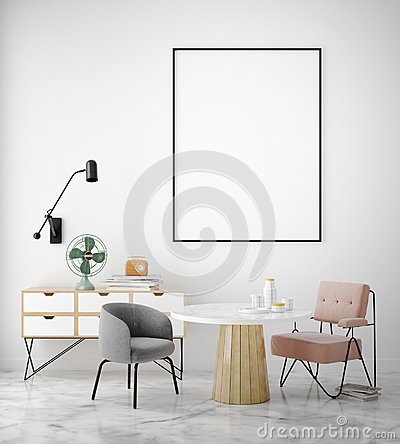 Free Mock Up Poster Frame In Hipster Interior Background, Scandinavian Style, Stock Image - 121444561