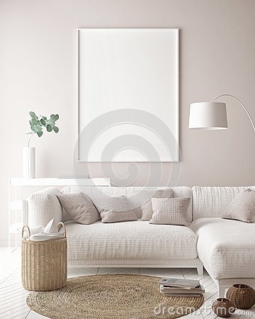 Free Mock Up Poster Frame In Hipster Interior Background, Scandinavian Style Stock Photos - 123770583