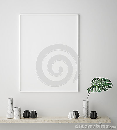 Free Mock Up Poster Frame In Hipster Interior Background, Scandinavian Style, 3D Render Royalty Free Stock Images - 80579989