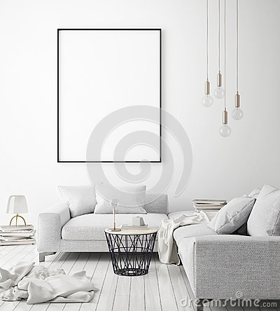 Free Mock Up Poster Frame In Hipster Interior Background, Scandinavian Style, 3D Render Stock Images - 98045074