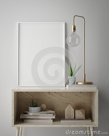 Free Mock Up Poster Frame In Hipster Interior Background, Scandinavian Style, Royalty Free Stock Image - 81668966