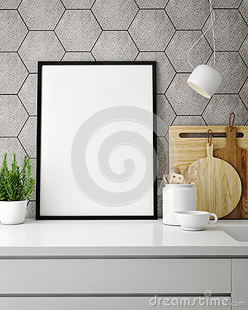 Free Mock Up Poster Frame In Hipster Kitchen, Interior Backround Stock Images - 73659364
