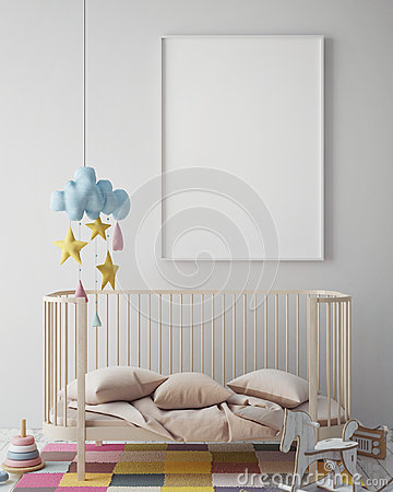 Free Mock Up Poster Frame In Hipster Room, Scandinavian Style Interior Background, 3D Render Stock Images - 80577084