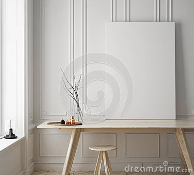 Free Mock Up Poster Frame In Hipster Room, Scandinavian Style Interior Background Stock Image - 78525791