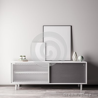 Free Mock Up Poster Frame In Interior Room With White Wal, Modern Style, 3D Illustration Royalty Free Stock Photo - 123762425