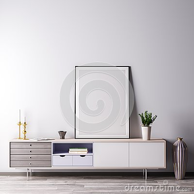 Free Mock Up Poster Frame In Interior Room With White Wal, Modern Style, 3D Illustration Royalty Free Stock Photos - 123762498