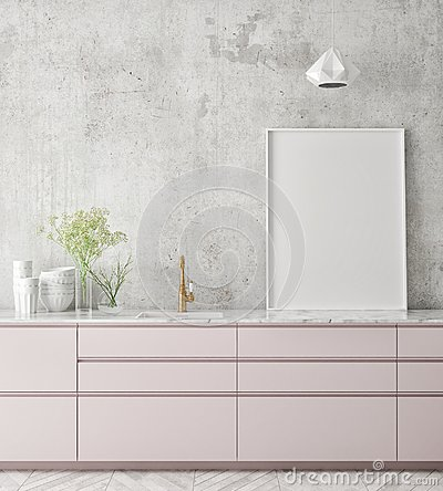 Free Mock Up Poster Frame In Kitchen Interior Background, Scandinavian Style, 3D Render Stock Photo - 111733920