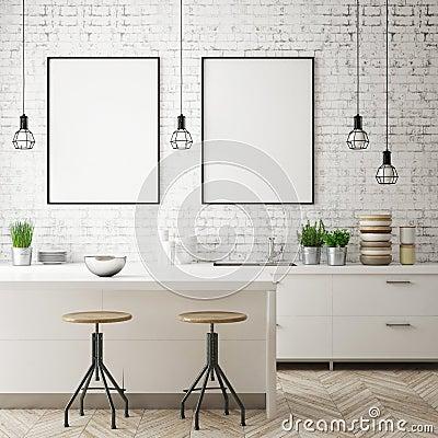 Free Mock Up Poster Frame In Kitchen Interior Background, Scandinavian Style, 3D Render Stock Images - 111733964
