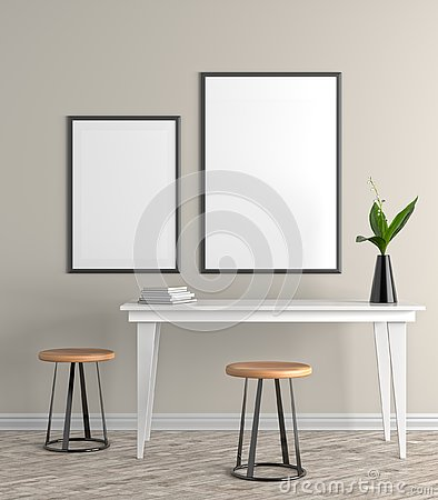 Free Mock Up Poster Frame In Scandinavian Style Hipster Interior. 3D Royalty Free Stock Image - 128564226