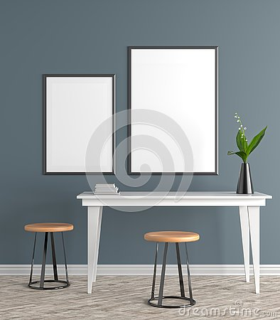 Free Mock Up Poster Frame In Scandinavian Style Hipster Interior. 3D Stock Photo - 128564360