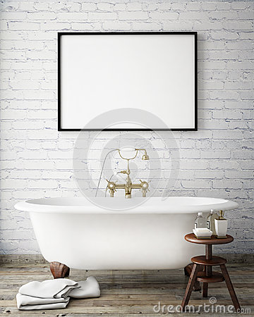 Free Mock Up Poster Frame In Vintage Hipster Bathroom, Interior Background, Royalty Free Stock Photography - 59967207
