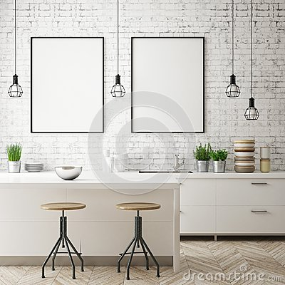 Mock up poster frame in kitchen interior background, Scandinavian style, 3D render Cartoon Illustration