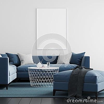 Free Mock Up Poster Frame Living Room Interior Background - 3d Render, 3d Illustration Stock Photos - 133897553