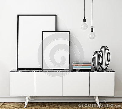 Free Mock Up Poster Frame On Chest Of Drawers, Interior Stock Photos - 47700583