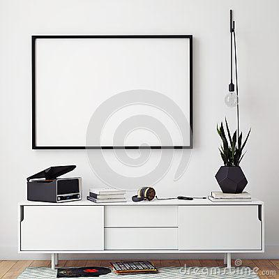 Mock up poster frame with on retro chest of drawers, hipster interior background Stock Photo