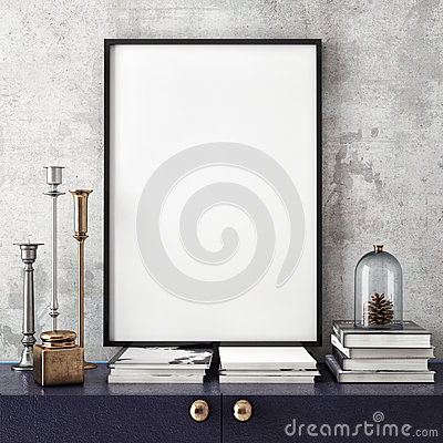 Free Mock Up Poster Frame With On Retro Chest Of Drawers, Hipster Interior Background, Royalty Free Stock Image - 60642686