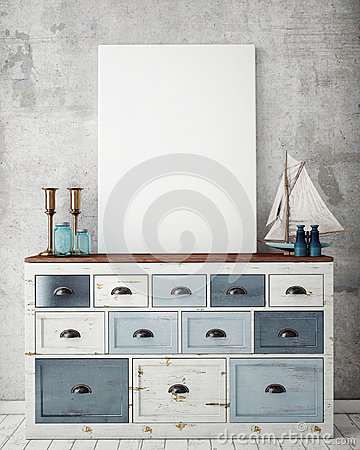 Free Mock Up Poster Frame With On Vintage Chest Of Drawers, Hipster Interior Background Royalty Free Stock Photography - 59966757