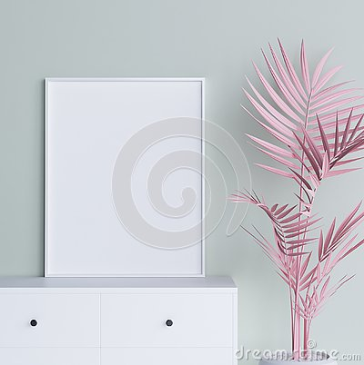Free Mock Up Poster Frame With Pastel Pink Plant In Interior Background Stock Photography - 129278022