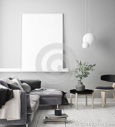 Mock up poster frames in children bedroom, scandinavian style interior background, 3D render Cartoon Illustration
