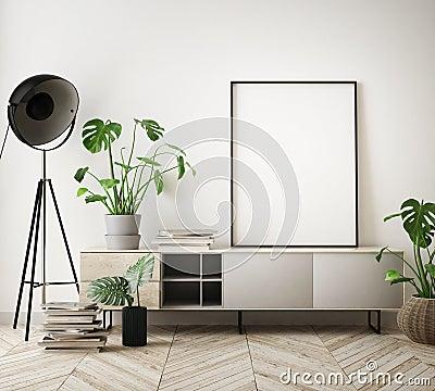 Free Mock Up Poster Frames In Children Bedroom, Scandinavian Style Interior Background, 3D Render Stock Image - 111733961